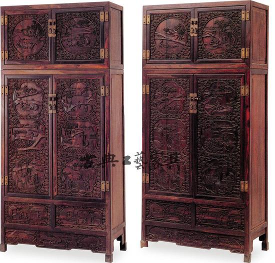 圖4 紫檀雍正耕織圖四件櫃(故宮博物院藏)