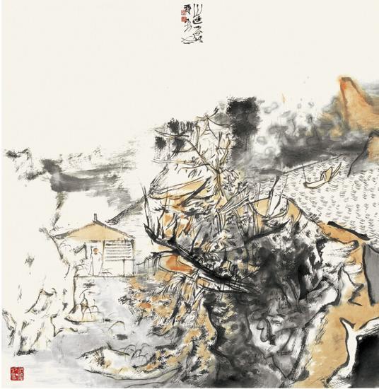 贾荣志 山色苍苍 2010.68cmX68cm