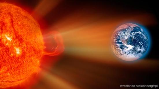 艺术示意图:冲向地球的太阳风暴