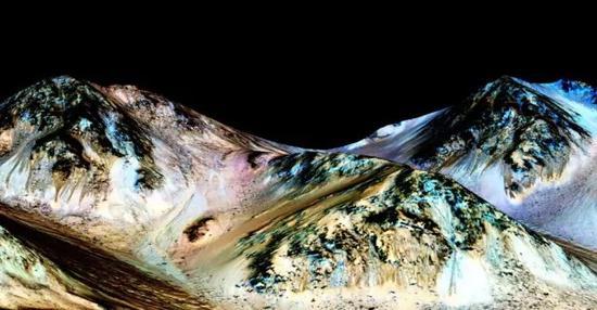 这一发现强有力地支撑了火星上的季节性斜坡文线是由水活动所致这一假设。(供图/NASA)