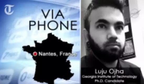 """卢金德拉·欧嘉从法国视频连线,他表示长期以来他们一直觉得火星上的暗色条纹与水有关,但""""直到现在一直无关键证据""""。(供图/NASA)"""