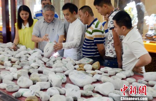 """10月2日,福州首届玉文化""""赌石""""大会在福州三坊七巷中华玉文化馆举行,来自缅甸的近6千件翡翠原石亮相该""""赌石""""大会。"""