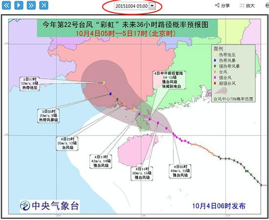 五点,预测登陆广东,对海南影响减小,仅文昌会收到十级以上大风影响。(截图来自中央气象台网站)