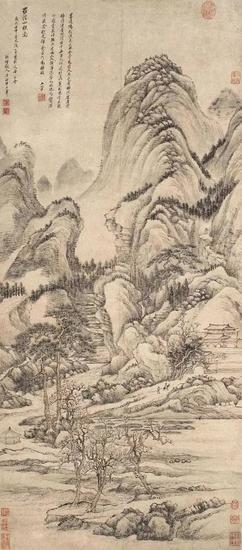 王翬 (1632-1717) 《羅浮山樵圖》 立轴 设色紙本 124x54.5cm 估价:HKD 6,000,000-7,000,000