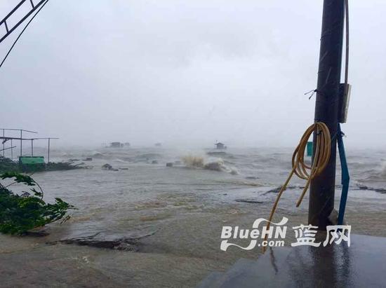 铺前港区域的海水涌上低洼地带(蓝网记者 陈锐摄)