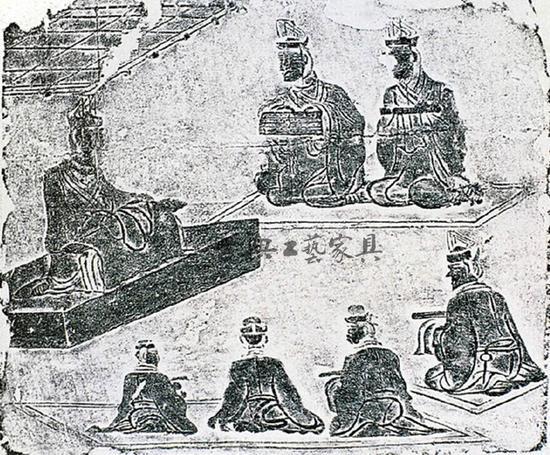 图5 四川成都青摃坡画像砖讲学图,师生皆为跪坐