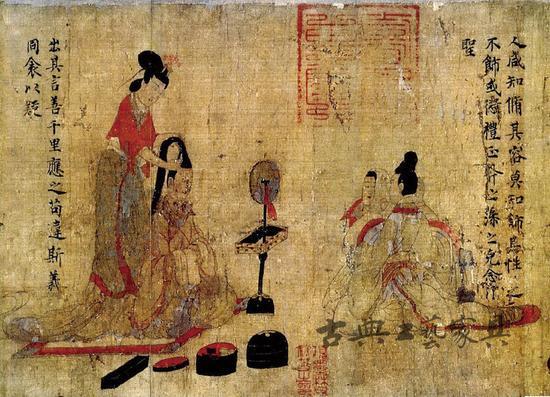 图4 顾恺之《女史箴图》,女史跪坐席上。
