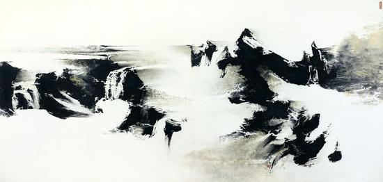 刘国松《寒山平远》 设色纸本 149 x 308.5公分
