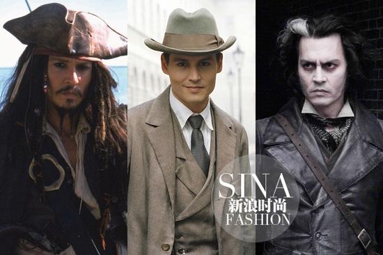 德普叔在《加勒比海盗》,《寻找梦幻岛》和《理发师陶德》里的扮相