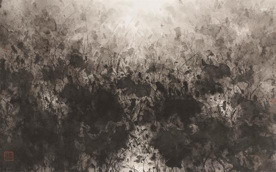 陆春涛,荷塘·2015No.077,57×91cm,纸本水墨,2015