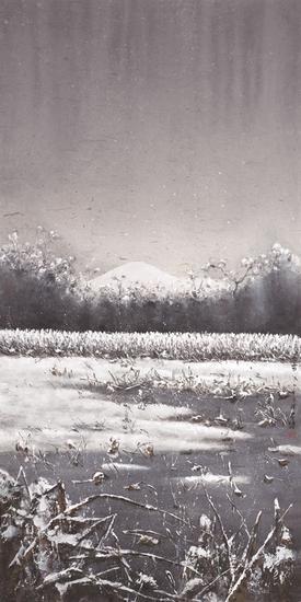 陆春涛,荷塘系列之冬雪,138×69cm,纸本水墨,2015