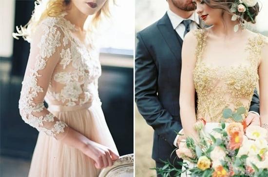 图示:蕾丝裸透设计   虽然穿在模特儿或明星身上的婚纱总是完美迷人,但相信准新娘们还是希望看看其他素人新娘穿起裸透婚纱的样子,和不同部位的设计所带来的独特风格。(内容来源:ELLE中文网)   更多时尚资讯请看微信公共号新浪时尚呦~