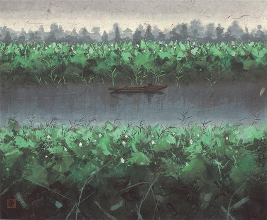 陆春涛,荷塘·2015No.104,42×53cm,纸本水墨,2015