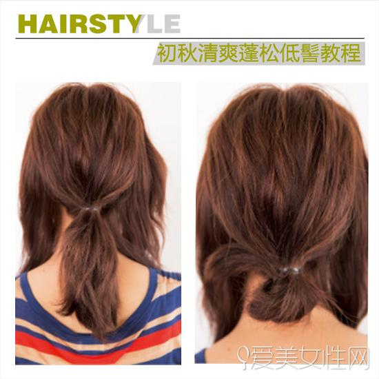 step1-2   扎发步骤   step1:将后脑的头发扎成一个低马尾.