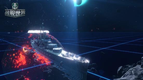 宇宙光笼罩战舰