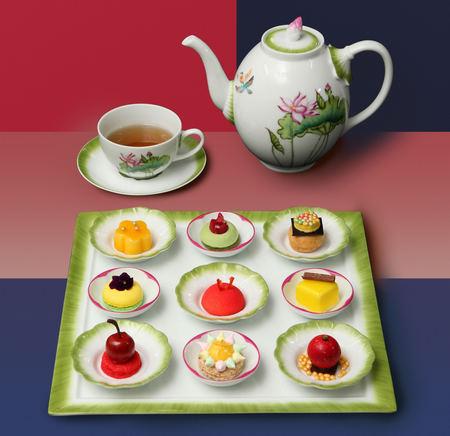 中国大饭店携手法国顶级瓷器品牌创作莲花下午茶宴,从杯碟茶壶到点心图片