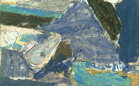 《敦煌》(草图六)2001年,纸板上油彩、色粉等27x16.8cm副本