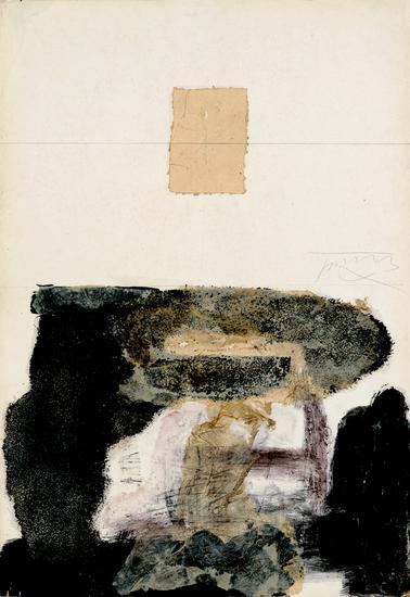 顾黎明《山水》78.5x55cm ,1990年,卡纸上色粉笔、油彩、及宣纸拼贴等