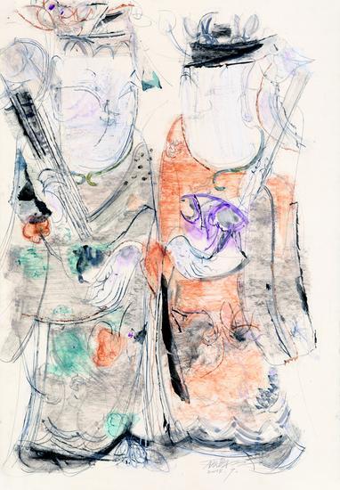 顾黎明《文武状元》75x46.5cm ,2015年,卡纸上色粉笔、水彩、铅笔及蜡纸拼贴等