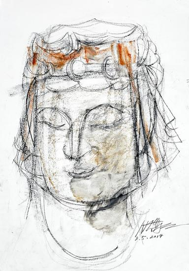 《北齐——佛造像 NO3》2014,纸上色粉、铅笔,39x27cm