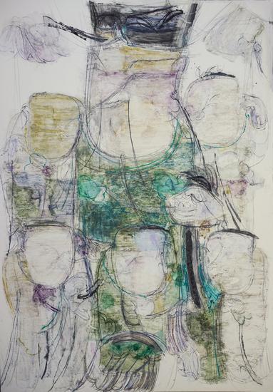 顾黎明《五子灯》之二75x52cm  ,2015年,卡纸上色粉笔、水彩、铅笔及蜡纸拼贴等
