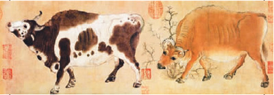 五牛图卷(局部) 韩滉(唐) (现藏于故宫博物院)