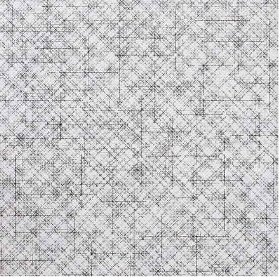 丁乙《十示2015-13》,椴木板上综合材料,240 x 240 cm