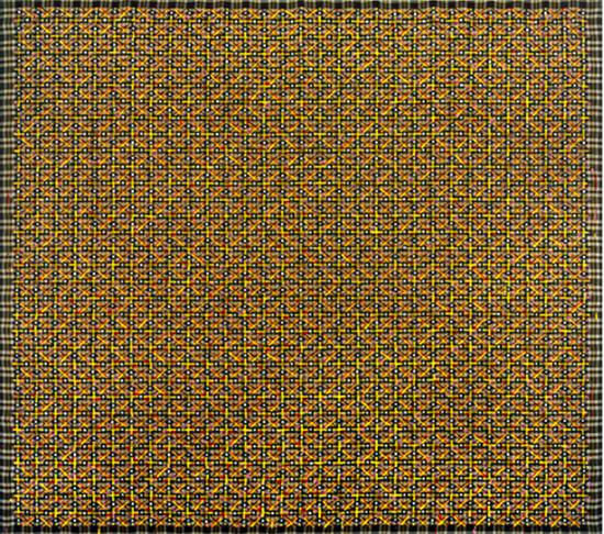 丁乙《十示 98-8》,成品布上丙烯,140 x 160 cm