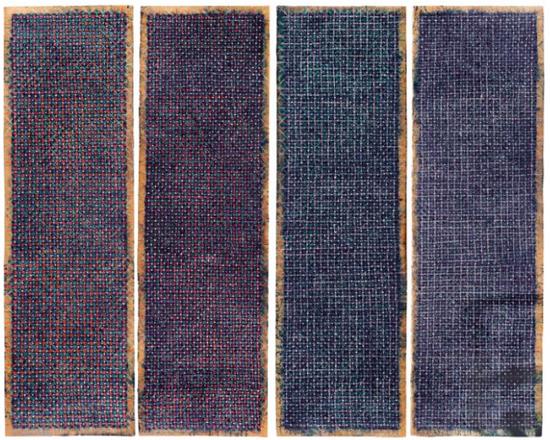 丁乙《十示97 B21-B25》,粉笔、炭笔、瓦楞纸,260 x 80 cm x 4件
