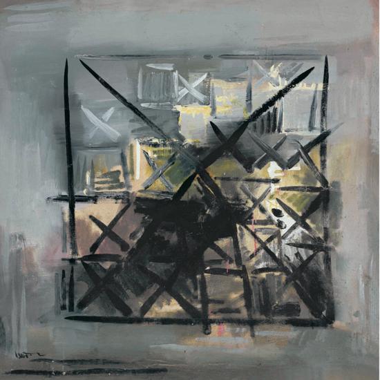 丁乙《禁忌》布面油画,84 x 84 cm,1986年