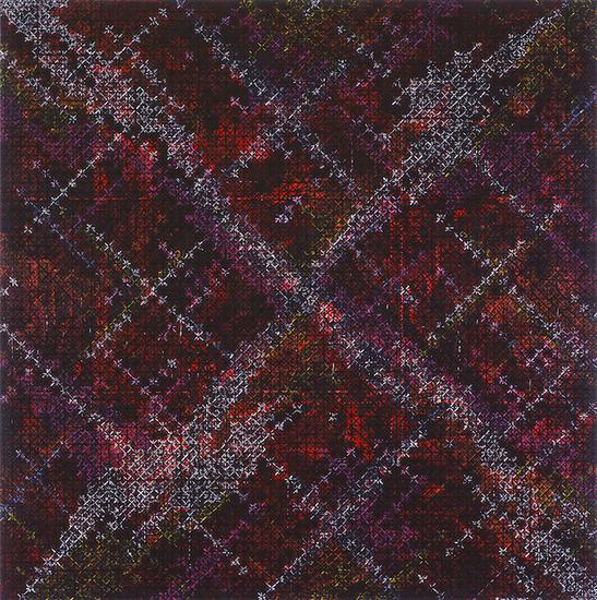 丁乙《十示 2014-9》,布上丙烯,200 x 200cm,2014年