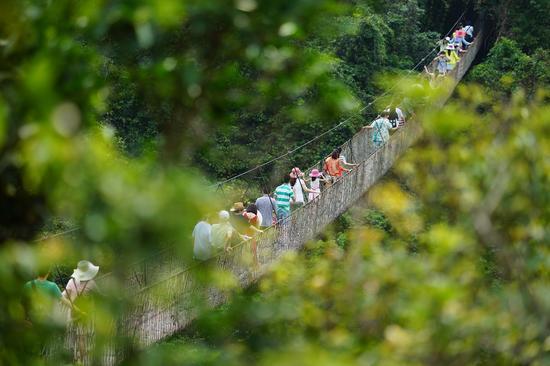 游客在植被覆盖茂盛的热带天堂景区内游玩