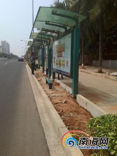 16日中午,两名男子站在绿化隔离带上等公交车。