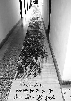 保定6旬老人手绘百米长卷 涵盖唐县20余旅游景点