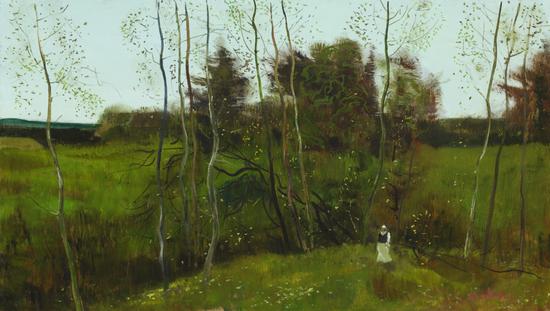安德烈·安德烈耶维奇·梅尔尼科夫 《山坡上На косогоре》厚纸板油画46x81cm1989年