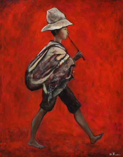 薇拉·安德烈耶夫娜·梅尔尼科娃《红色背景下的男孩》100x80cm2013年布面油画