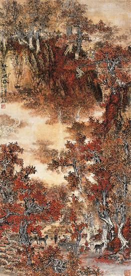 红透山谷  1964年 139×67cm