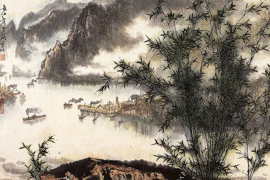 长江写生 创作时间:1976年 尺寸:49cmx72cm