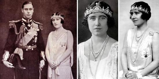 英国王太后伊丽莎白头戴王冠