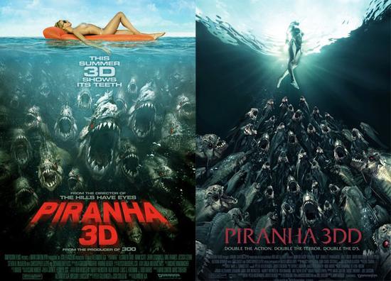 电影海报《食人鱼3D》和《食人鱼3DD》