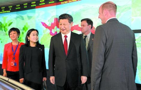 22日,习近平参观国际移动卫星公司。
