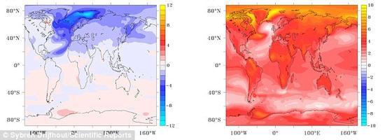 研究者模拟了大西洋经向翻转洋流崩溃时产生的影响,发现在该事件发生后头20年里,全球温度将出现下降,之后才会再次升温。左图显示了15年后的气候异常,右图显示的是95年后世界的气温异常情况。