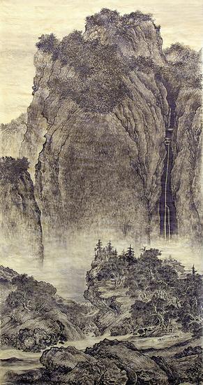 """范宽《溪山行旅图》 绢本设色 155×74.3厘米 台北故宫博物院藏  此画作为北宋山水画三大名家之一范宽仅存作品。画面布局雄伟。高居翰盛赞""""画面虽消耗了画家的无穷精力,成果却看不出任何斧凿痕迹。""""石块和削壁以""""雨点皴""""定型,无数淡墨小点叠落在岩石上,这种范宽独创的新画法,常被后来""""仿范宽""""的山水画家们模拟。"""