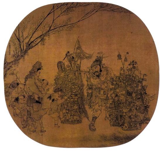 """李嵩《市担婴戏》 1210年 册页 绢本设色 25×27.4厘米 台北故宫博物院  此画处理宋代俗世题材,体现了画院画家惊人的描绘技巧。画上书有蝇头小字:""""五百件"""",意指画家在货担上画出的物件数量,以此体现线描的细致。画中孩童淘气的眼神以及母亲的耐心表情,透露出画家对个性的掌握。"""