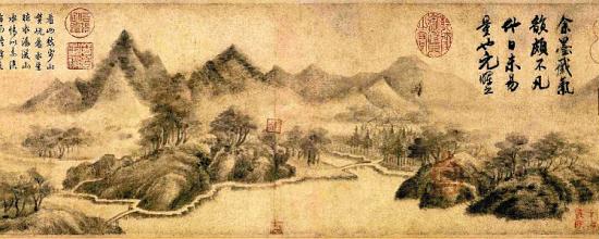"""米友仁《云山墨戏图》 纸本墨画 21.4×195.8厘米 北京故宫博物院藏  此图描绘沿江景色,采用""""米家山水""""的典型画法,山峦先用淡墨染就,继以大小各异的横向墨点反复图写,从而达到雾气迷蒙的独特效果。米友仁为米芾长子,人称""""小米""""。早年即以擅长书画知名,山水画发展了米芾技法。强调""""借物写心"""",崇尚""""平淡天真"""",运笔草草,自称""""墨戏"""",对后来""""文人画""""中的笔墨纵放脱略形状有影响。"""