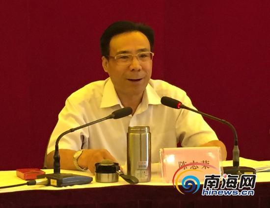 海南省委常委、政法委书记陈志荣发表讲话(南海网见习记者徐静涵摄)。