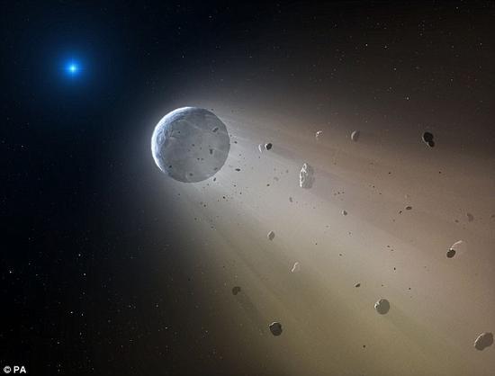 天文学家发现,当一颗巨大的岩石类天体边旋转边靠近一颗白矮星时,在巨大的引力作用下,这个天体被白矮星撕裂了。类太阳恒星生命耗尽后,它们的外壳会向内收缩、坍塌,留下的高温残余便是白矮星。