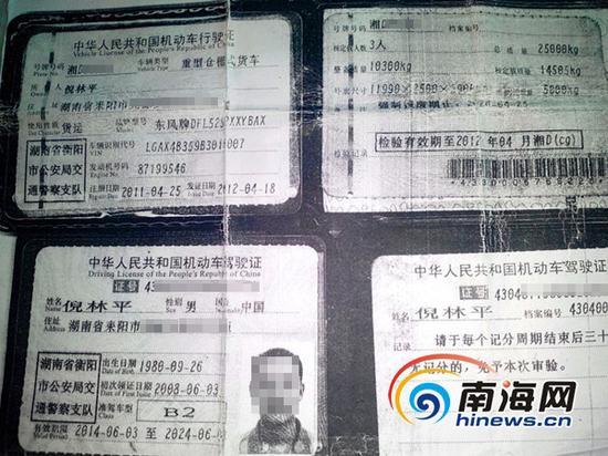 货车司机倪林平的驾驶证复印件(南海网记者刘培远摄)