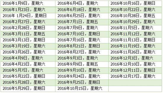2016考试时间表