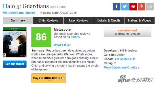 《光环5》目前在Metacritic的全球媒体平均分为86分
